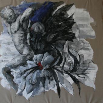 """""""Monolith"""" Charcoal & Acrylic on Linen 72″x60″"""