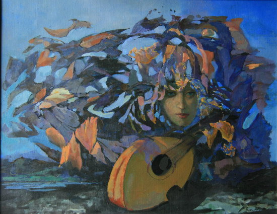 Muse Playing, oil on linen 24×30