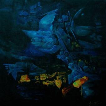 """""""Blue Wing"""" Linen 20″x20″"""