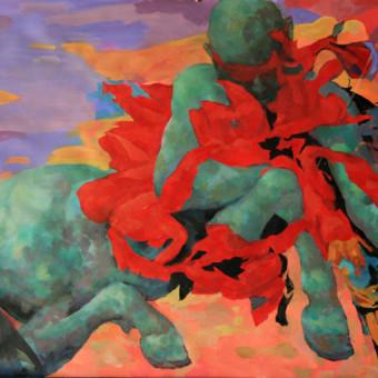 """Centaur in Love"" Acrylic on Paper 24″x36″"